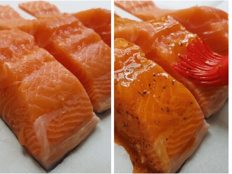 נתחי דג סלמון לפני אפייה