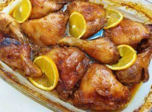 עוף בתנור ברוטב תפוזים ודבש